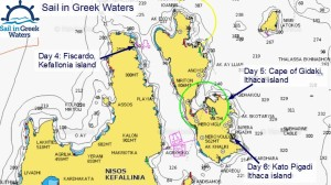 Chart of our cruise on the map of Ithaca | Sail in Greek Waters