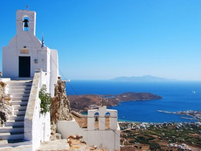 View to the port of Serifos from Chora