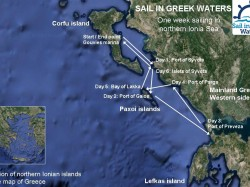 Map of the Sailing Route; Corfu, Paxoi islands | Sail in Greek Waters