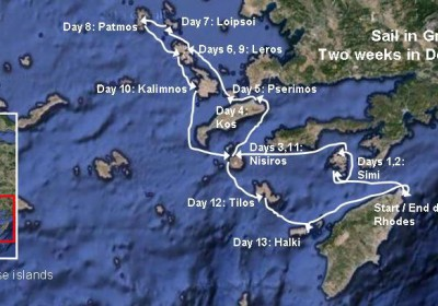 Click the image to see the Chart of the sailing route | Sail in Greek Waters