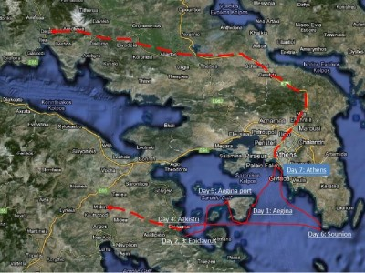 Map of the sailing around ancient monuments route