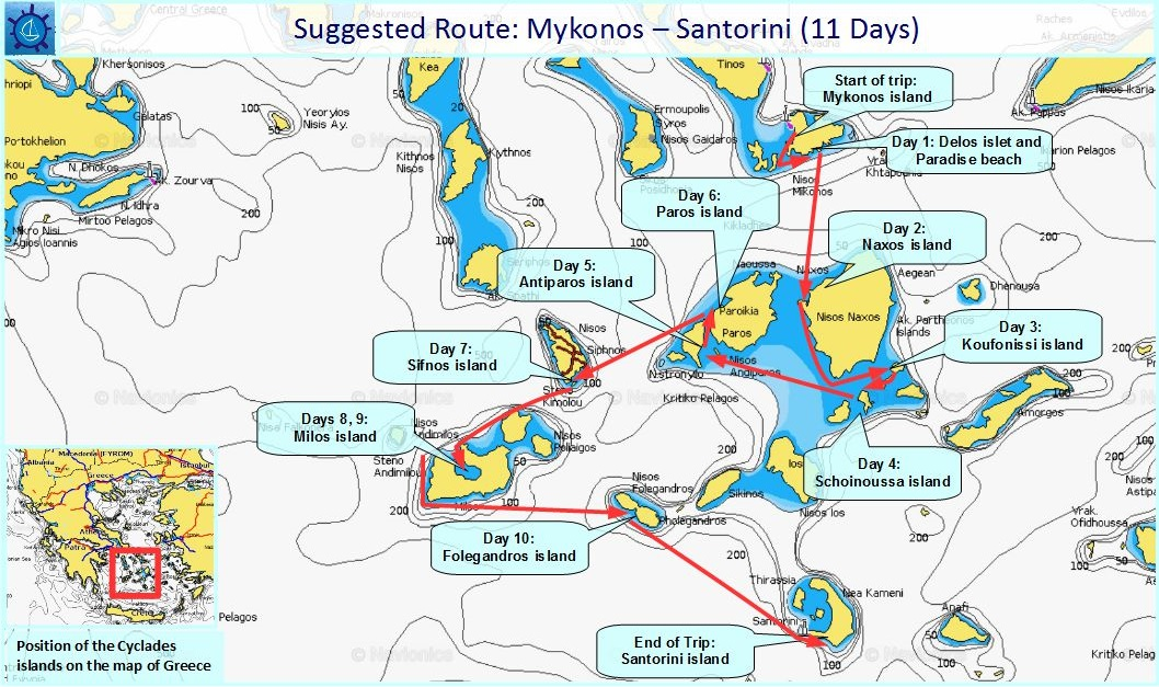 Sailing Routes in the Cyclades islands Mykonos Santorini in 11 Days