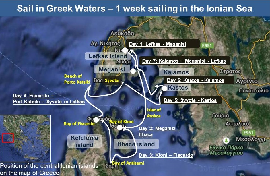 Yacht Chartering in the Ionian Sea Suggested Route  Sail in